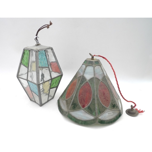 45 - Two coloured glass ceiling lamp shades, tallest diamond form 38cm, the other of octagonal form, a/f....