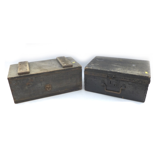 82 - A late 19th century strong box, 41 by 29.5 by 19cm high, together with an ammunition style crate, bo...