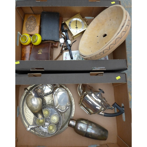83 - A group of plated wares and collectables, including a canteen of plated flatware, cocktail shaker, a...