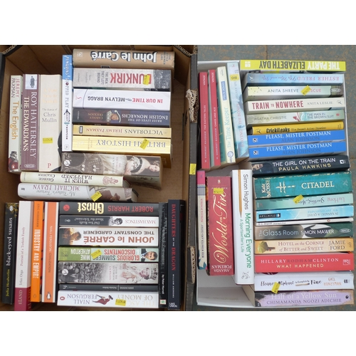 41 - A quantity of books, comprising paperbacks, various novels. (2 boxes)...