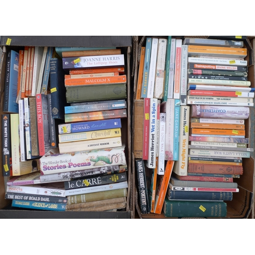53 - A quantity of books, comprising paperbacks, various novels. (2 boxes)...