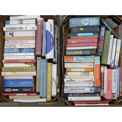 54 - A quantity of books, comprising paperbacks, various novels. (2 boxes)...