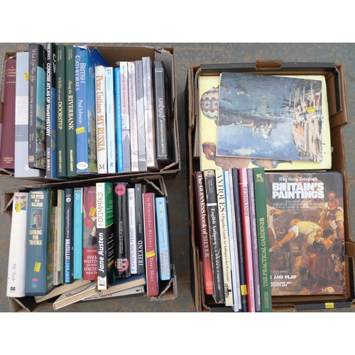 55 - A quantity of books, comprising hardbacks, antiques, reference, history and travel. (3 boxes)...