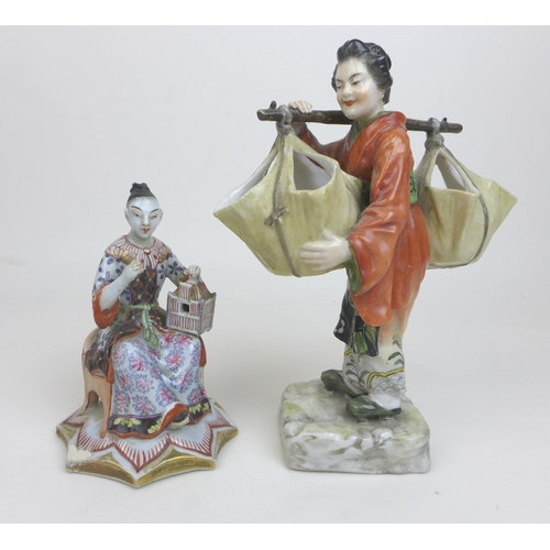 18 - A group of four oriental figurines, a Hochst style Chinese lady carrying her wares, with cartwheel m...