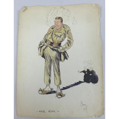 139 - A group of four WWI era hand drawn cartoons, comprising of two cartoons signed by 'Maxwell Scott', '...