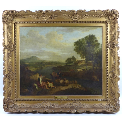 201 - Italian School (18th century): a rural scene with figures in a landscape, in portrait format, with a...