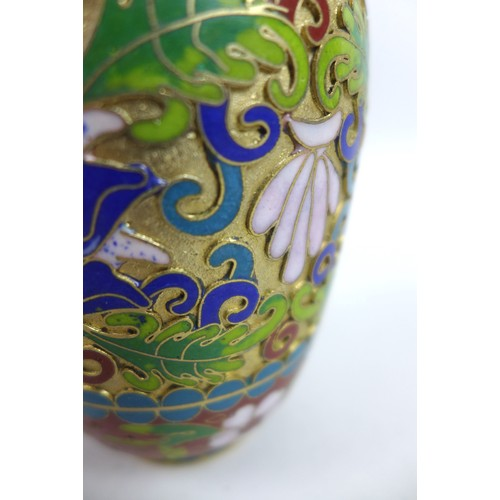 4 - A pair of Japanese cloisonne vases of baluster form, with floral designs, both 7 by 15.5cm high, and...