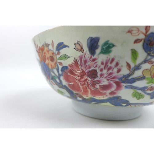 7 - Two 19th century Chinese porcelain famille rose bowls, the larger 24 by 10.3cm high, the other 20 by...