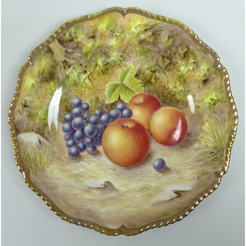 28 - Two modern Royal Worcester cabinet plates, hand painted by N. Creed, each with a fruit study to a mo...