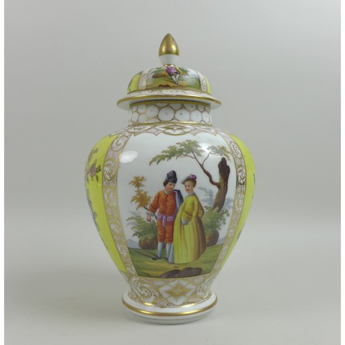 27 - A Dresden porcelain vase and cover, late 19th century, yellow and white quartered ground decorated w...