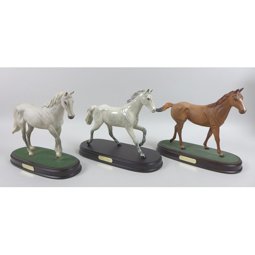 21 - A group of Royal Doulton equine figures, comprising Red Rum, boxed, Nijinsky, boxed, Lammtara, boxed...