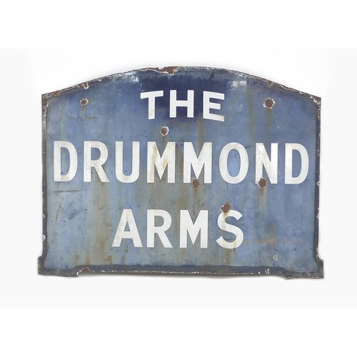 203 - A vintage enamel sign, of arched rectangular form, blue with white lettering 'The Drummond Arms', 13...