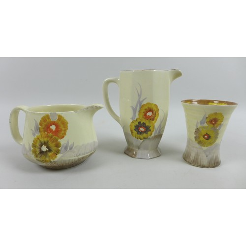 24 - Clarice Cliff for Royal Staffordshire and Wilkinson, a group of four Rhodanthe pattern pieces, all c...