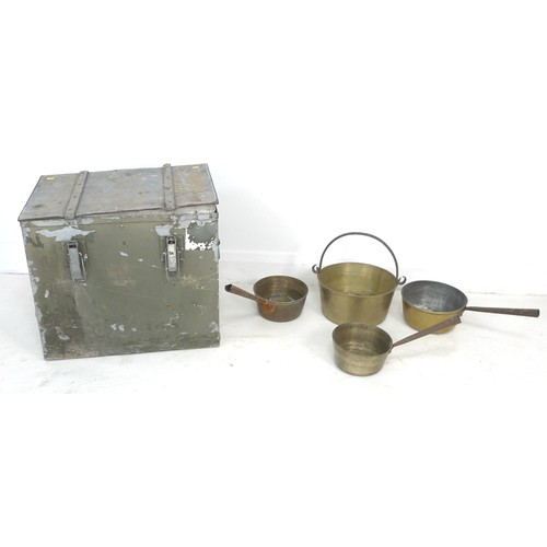 40 - A heavy white metal storage case, 53 by 38 by 46cm high, together with a group of brass jamming pans...