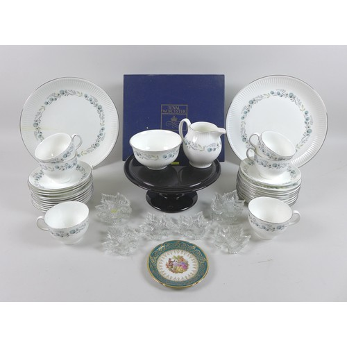 12 - A group of ceramics and glass wares, including a part Wedgwood Boleyn pattern tea set, small leaf sh...