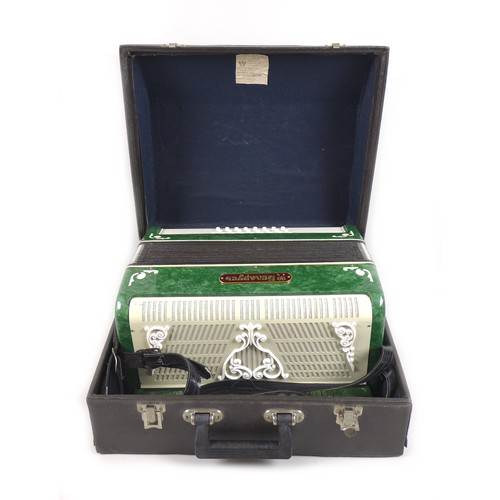 36 - A Russian 20th century Bayan diatonic button accordion with case, in working condition....