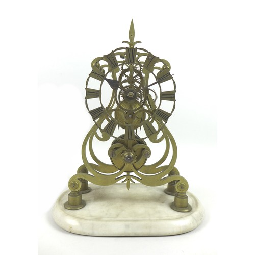 32 - A 19th century brass skeleton clock with fusee movement, on marble base with pendulum and key, unsig...