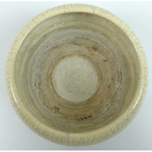 9 - A Chinese Qing Dynasty, 19th century, Ge type stoneware bowl, with cream crackle glaze, of squat for...