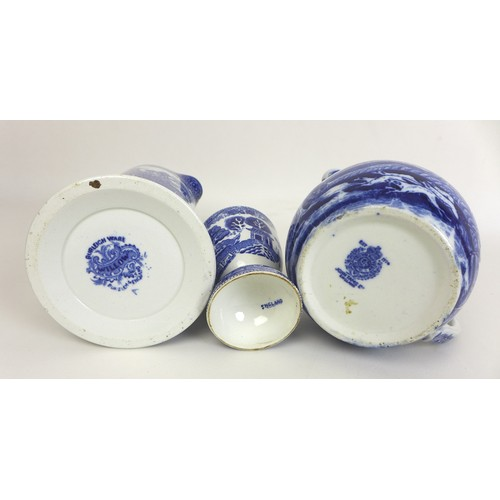 15 - A collection of mixed china and glassware, including A Victorian Mintons blue and white Chinese desi...