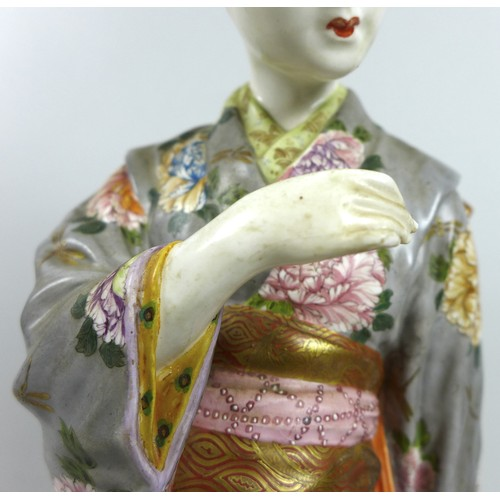 10 - A good Japanese Satsuma porcelain figure by Kinkozan, Meiji period, modelled as a young Japanese wom...