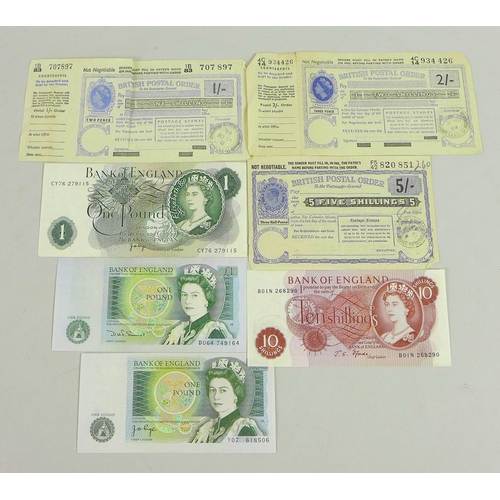 84 - A collection of bank notes and three postal orders, comprising three £1 note, serials CY76279115, DU...