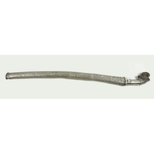 3 - A 19th century white metal and horn handled sword, likely an Indonesian parang or pedang, with silve...