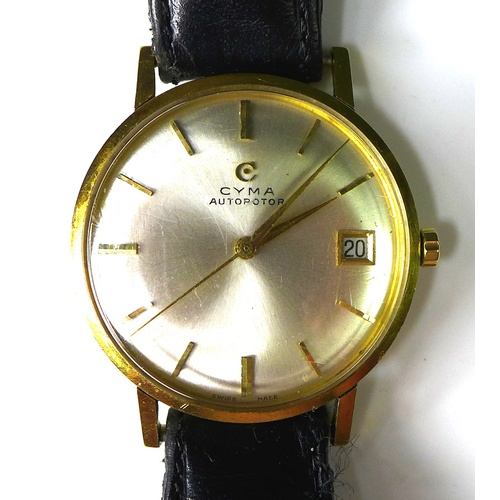 113 - An 18k gold cased Cyma Autorotor gentlemen's wristwatch, circa 1960, circular silvered dial with gol...