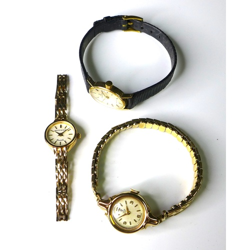 104 - A group of three 9ct gold cased lady's wristwatches, comprising a Tudor Royal, with circular dial, m...