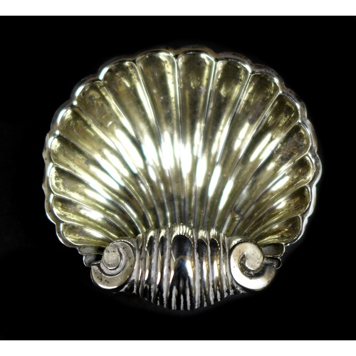 32 - A set of four Victorian silver shell shaped salts, Mitchell Bosley and Co, Birmingham 1896, cased, 6...