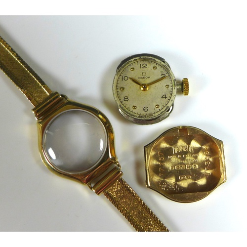 102 - An Omega 9ct gold lady's wristwatch, with circular dial, gold dot and black Arabic numerals, on a 9c...