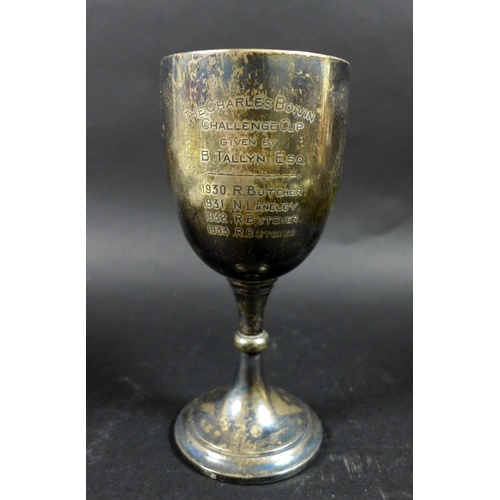 46 - A group of silver items, a George V, silver trophy goblet, inscribed 'The Charles Boivin Challenge C...
