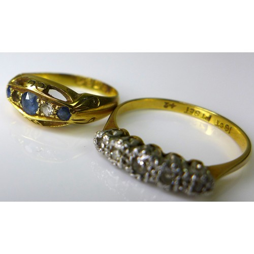 141 - An 18ct gold and diamond five stone ring, size O, 2.1g, together with an 18ct gold, sapphire and dia...