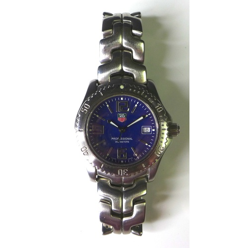 111 - A Tag Heuer Professional 200m steel cased gentleman's wristwatch, blue circular dial with Arabic num...