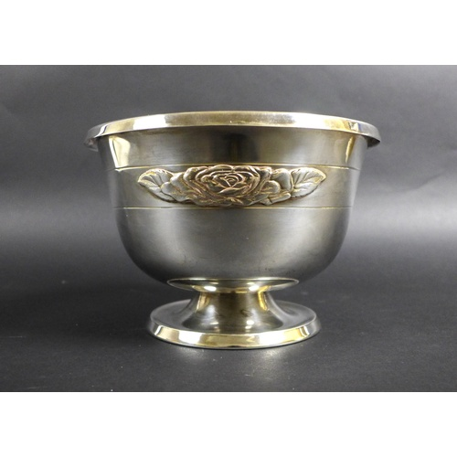 59 - An Elizabeth II silver Asprey rose bowl, with applied relief rose decoration to one side, raised upo...