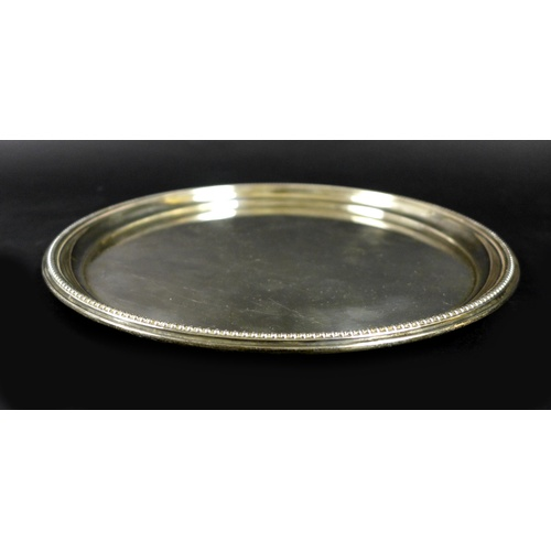 60 - An Elizabeth II silver tray, with beaded edge and plain centre, Barker Ellis Silver Co., Birmingham ...