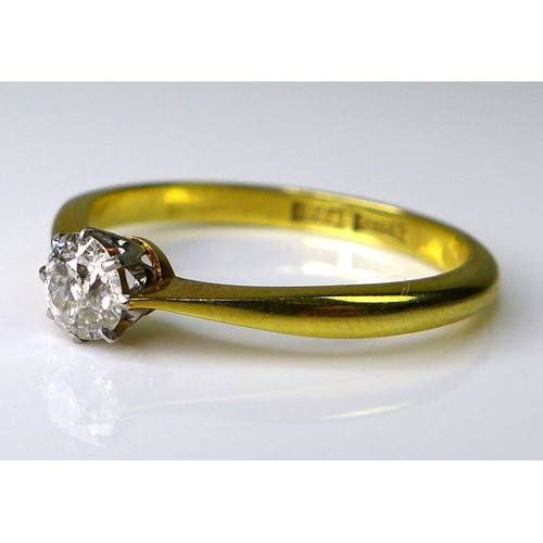 140 - An 18ct gold and diamond solitaire ring, the brilliant cut diamond of 4.3mm diameter and approximate...