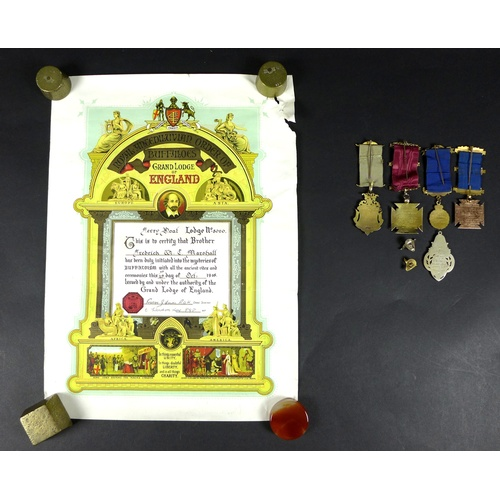 173 - A group of 9ct gold, gold plated and silver Royal Antediluvian Order of Buffaloes medals, early to m...