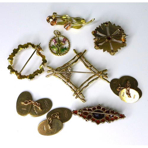 169 - A group of 9ct gold jewellery, comprising brooches and cufflinks, including examples set with garnet...