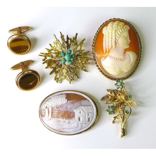 156 - A group of 9ct gold jewellery, comprising two cameo brooches, a textured starburst brooch set with t...