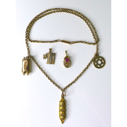 151 - A 9ct gold necklace with three charms formed as Jewish religious items, together with two loose 9ct ...