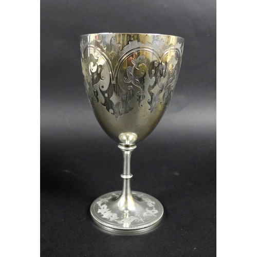 39 - A Victorian silver goblet, with gilt interior, engraved decoration raised upon a circular base, 9.3 ...