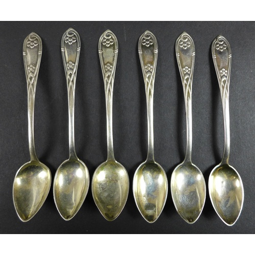 19 - A collection of forty seven Danish silver teaspoons, includiing an early 20th century cased set of e...