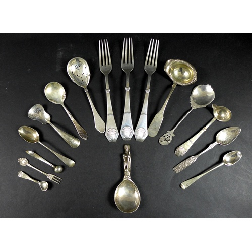 15 - A collection of Danish and English silver flatware, including a 19th century Danish 830 grade silver...