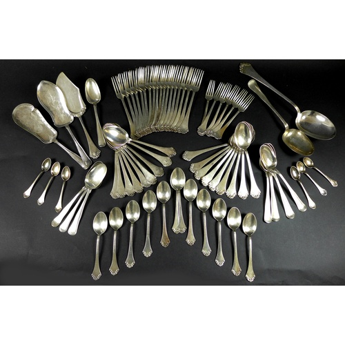 14 - A large collection of Danish silver plated flatware, comprising of two part sets, forty nine pieces ...