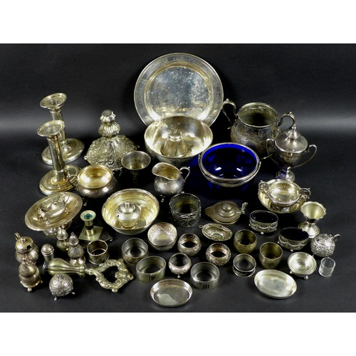 11 - A collection of silver, white metal and plated items, including a Georg Jensen mustard pot and salt ...