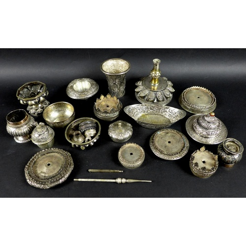 7 - A group of South East Asian white metal items, 19th and early 20th century, including parts of a Tha...