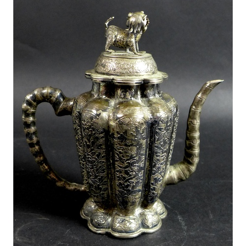 1 - A 19th century Chinese silver wine pot, of lobed tapering form, the cover with shi shi finial, faux ...