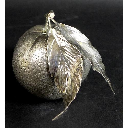 123 - A contemporary Italian 925 silver sculpture by Mario Buccellati, modelled naturalistically as an ora...