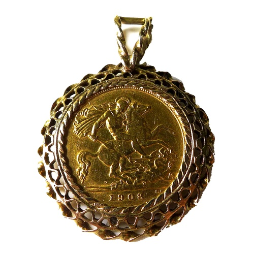 87 - An Edward VII gold half sovereign, 1908, in 9ct gold pendant mount, 6.7g....