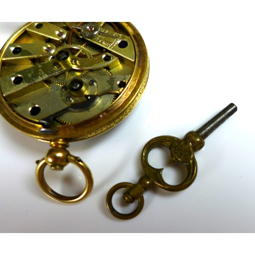 117 - A 19th century 18K yellow gold key wind open faced pocket watch, with engraved floral dial matte cha...